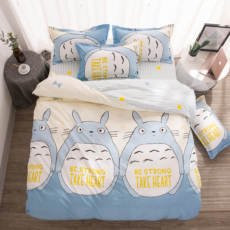 Totoro Printed Home Textile Cartoon 3/4pcs Bedding Set Bed Cover Bed Sheet Duvet Cover Pillowcase Bed Linen Bedclothes Queen