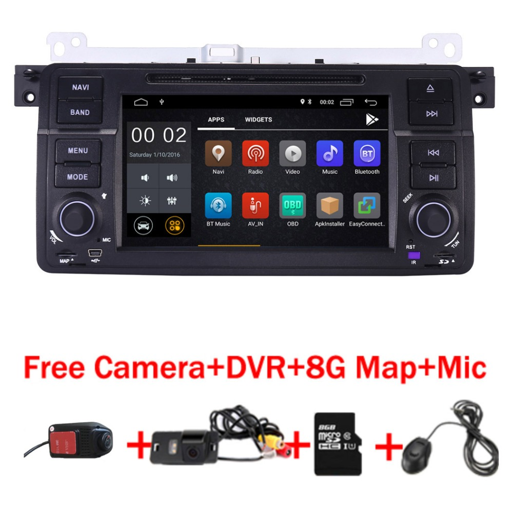 Factory price 2 Din Android 8.1 Car DVD GPS Navi for BMW E46 M3 Wifi 3G Bluetooth Radio RDS USB SD Steering wheel Free camera