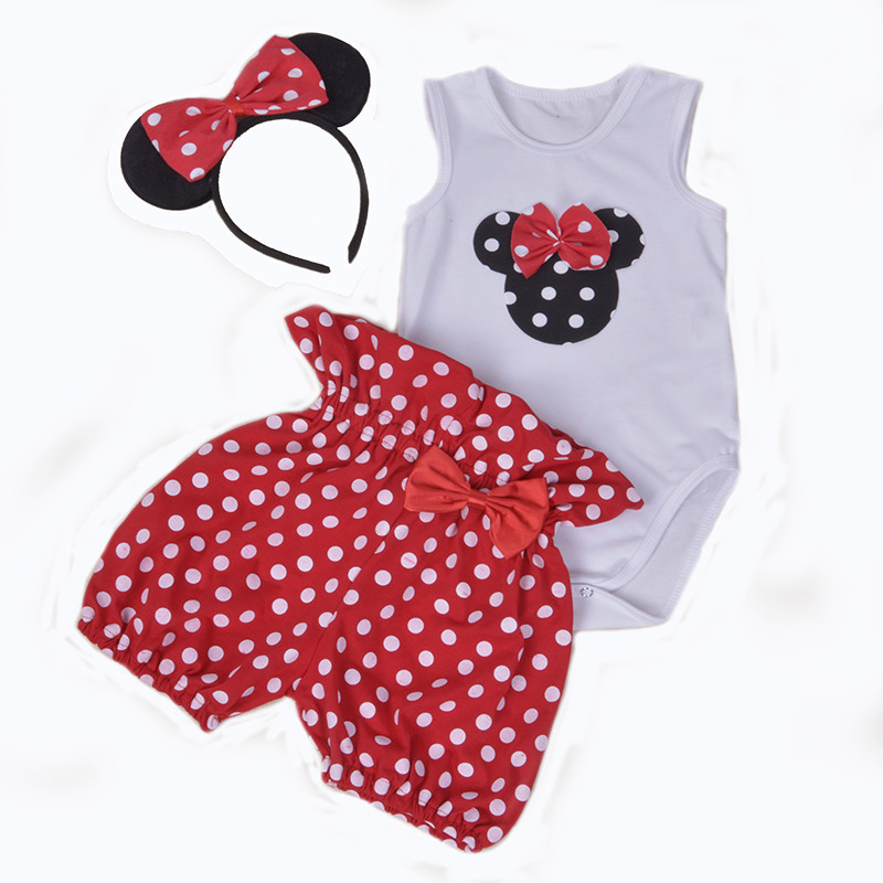 Infant Girl Suits Cartoon Minnie Hello Kitty Cotton Bodysuit + Polka Dots Shorts 2pcs Set Lovely Newborn Baby Jumpsuit Clothes minnie newborn baby girl clothes gold ruffle infant bodysuit bloomer headband set winter jumpsuit toddler birthday outfits