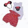 Infantil de la muchacha traje de dibujos animados Minnie Hello Kitty traje de algodón + lunares Shorts 2 unids conjunto precioso bebé recién nacido ropa del mono