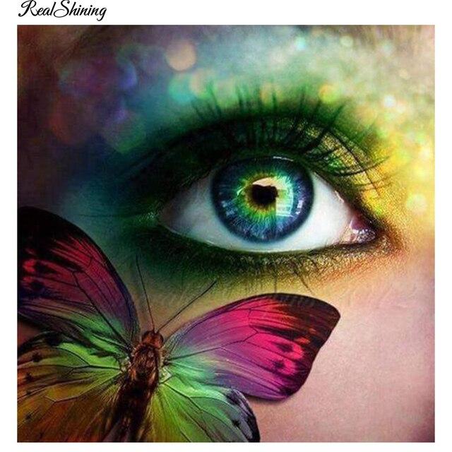 Peinture Dans L Oeil realshining papillon oeil 5d mosaïque artisanat diamant peinture