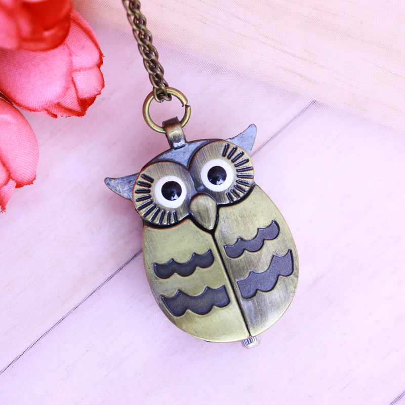 2018 Cyd Women Girls Children Necklace Pocket Watches Owl Quartz Personality Pendant Fob Watch Vintage Clock For Students