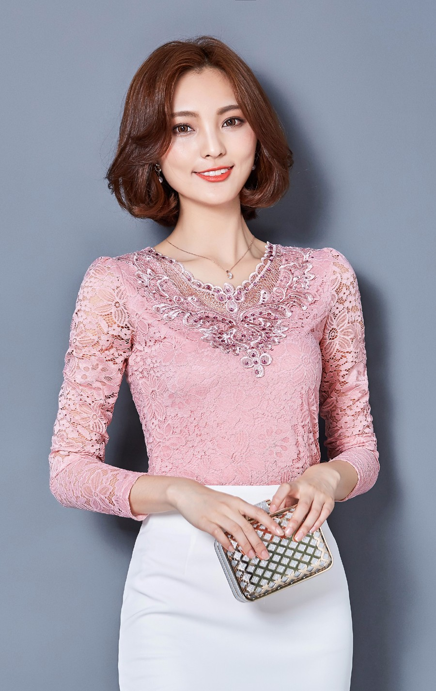 42a5c3bce79 FGLAC 2018 spring Women blouse Solid color long sleeved Diamonds ...
