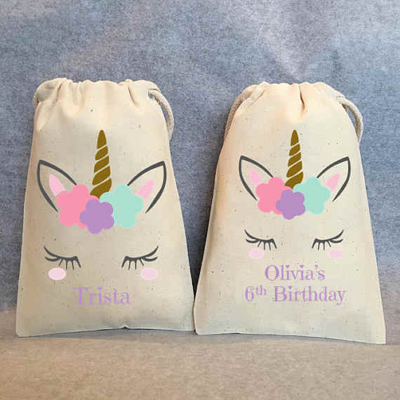 Custom Name Or Text Unicorn Party Favor Birthday Gift BagBaby Shower Bags
