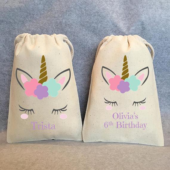 Saco de presente de aniversário do favor da festa do unicórnio do nome ou do texto feito sob encomenda, sacos do presente do chá de fraldas, sacos mágicos do pacote do favor da festa