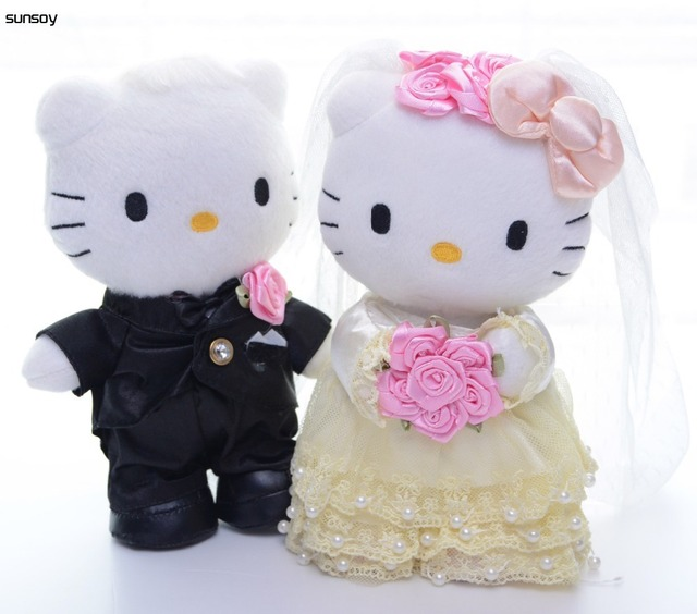 1 Pair Hello Kitty Toys Wedding Couple Gifts Cat Stuffed Plush Soft Doll