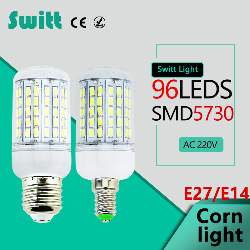 High Power 220v 240v LED Lamp corn bulb Spotlight SMD 5730 lampada led  E27 E14 lampadas 96leds Warm Cold white lole капри lsw1349 lively capris xs blue corn