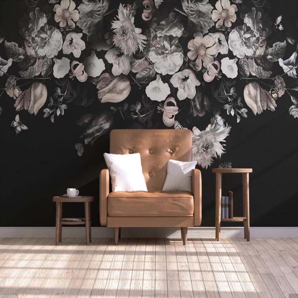 Dark Color Vintage Black and White Floral Wallpaper Wall Murals Oil Painting Mural for Living Room Home Wall Decor Custom Size