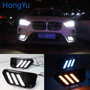 LED DRL For BMW X1 F48 F49 2015 2016 2017 2018 2019 Daytime Running Lights Fog Lamp Cover with Yellow Turn Signal Functions