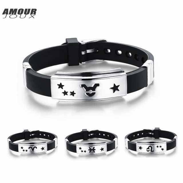 Amourjoux Fashion 12 Constellations Zodiac Signs Stainless Steel Silicone Charm Bracelet With Clasp For Men