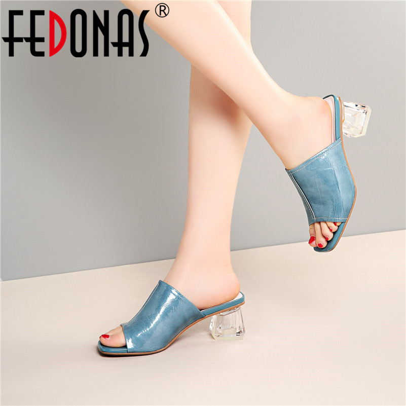 FEDONAS Summer Fashion Sandals Women New Brand High Quality Genuine Leather Sqaure High Heels Prom Shoes