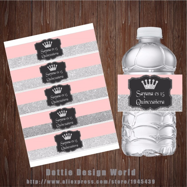 20 Pcs Lot Silver Rose Water Bottle Labels Candy Bar Wrapper