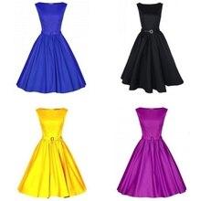 Starlist Women Fashion Audrey Hepburn Style Vintage 60's Sashes Solid Ball Gown Empire Fit Slim Round Neck Dresses 2017 New