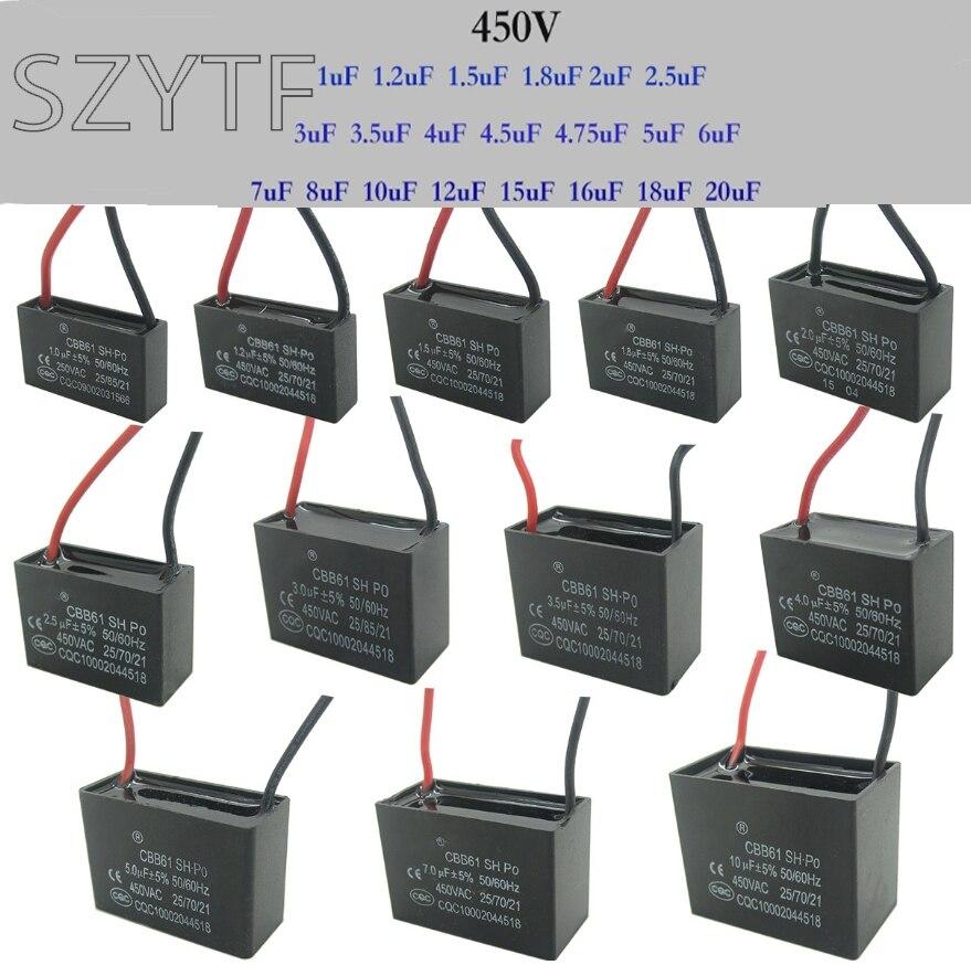 2.2UF 450 VOLT AC 50//60HZ CBB61 25//85//21 CAPACITORS Pack of 2