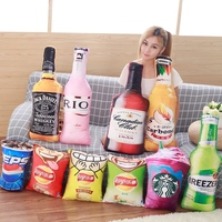 Creative Cute Wine Bottles Plush Pillow Stuffed Soft Starbucks Cushion Funny Toys For Kids Baby Kawaii