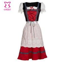 bed018b9cf156 Oktoberfest Alman Geleneksel Kırmızı süslü elbise Bira Kız Dirndl Elbiseler  Karnaval Rol yapma Kostümler Yetişkin Cadılar Bayram.