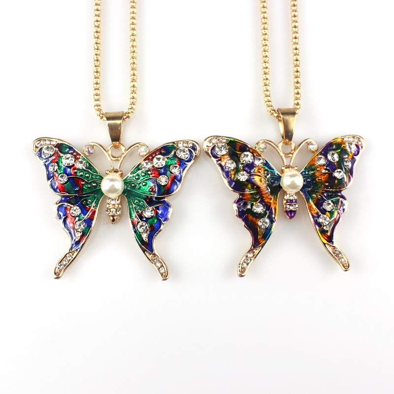 Fashion Women Butterfly Crystal Animal Necklace Pendant Sweater Chain Jewelry