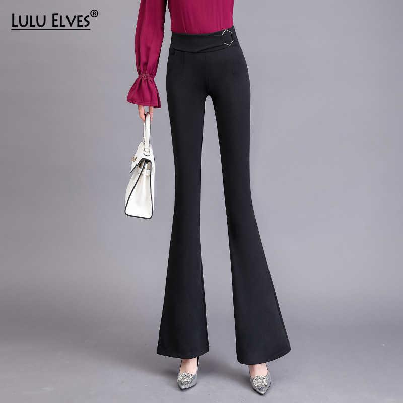 Nouveau printemps été grande taille S-3XL costume décontracté Long pantalon pour femmes taille haute Slim Flare pantalon mode décontracté OL pantalon 01