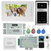 """Envío libre 7 """"sistema de intercomunicación timbre video de la puerta teléfono con cámara al aire libre 700TVL con pestillo de la cerradura eléctrica para el hogar seguro"""