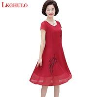 Summer Ladies Knee Length Dress 2019 New Fashion Pure High Quality Chiffon Dress Plus Size 5XL Middle aged Women Clothing W812