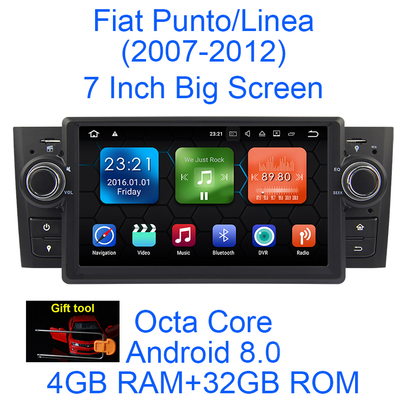 Android 8.0 Octa Core 4g RAM 32g ROM GPS Navigation 7 Voiture DVD Multimédia pour Fiat Grande punto/Linea 2007-12 avec Radio/BT/RDS
