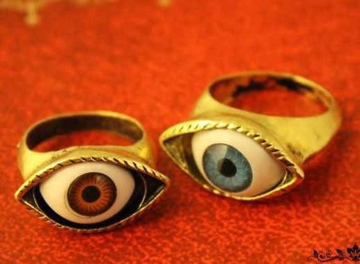 Vintage Retro Europa Punk gótico exagerado vampiro azul bronce ojos anillos envío gratis