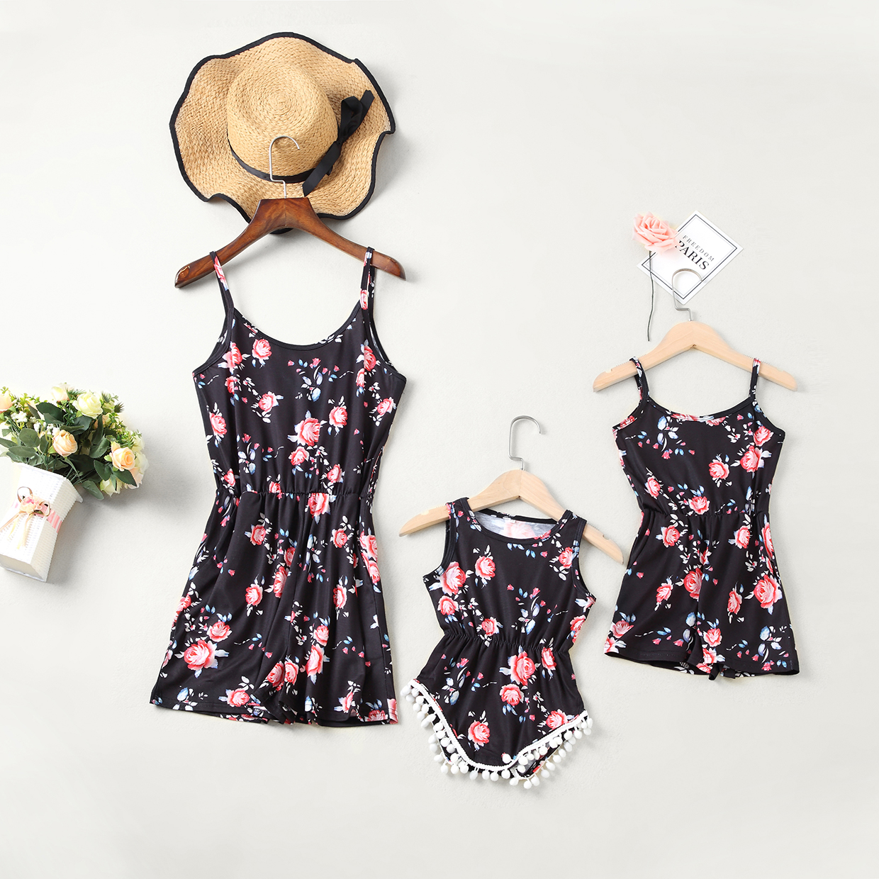 Tank Mother Daughter Dresses Floral Overall Pants Family Look Mommy And Me Matching Clothes Outfits Mom Mum Mama And Baby Dress