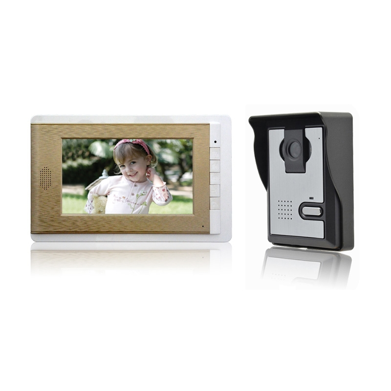 (1 set) 1 To 1 7 inch colorful LCD panel video intercom Home use night visible video door phone door bell access control system