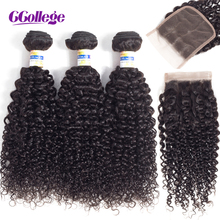Ccollege Hair Extension Kinky Curly Human Hair Bundles With Closure Malaysian Hair Weave Bundles With Closure Non Remy ccollege естественный цвет 8 10 12