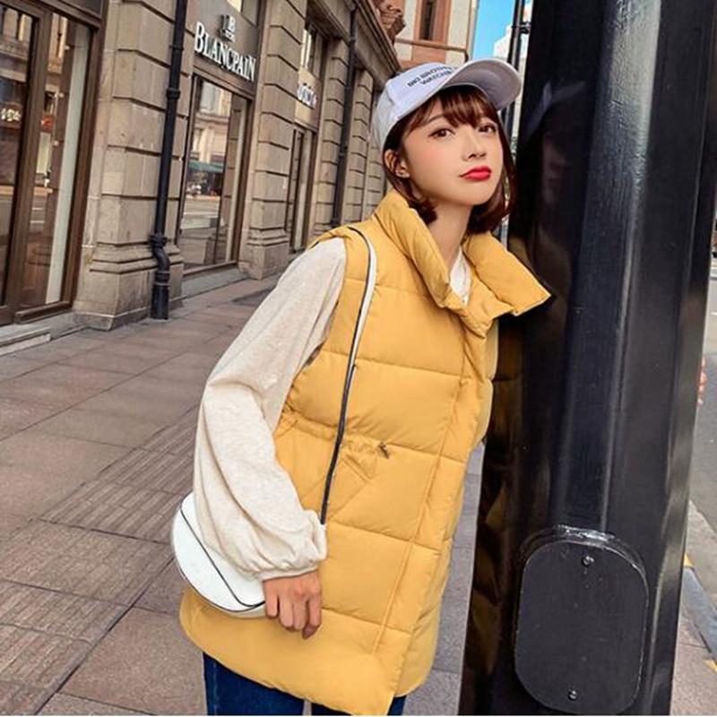 Women Vest Winter Jacket Pocket Coat Warm Casual Cotton Padded Vest female Slim Sleeveless Waistcoat in Vests amp Waistcoats from Women 39 s Clothing