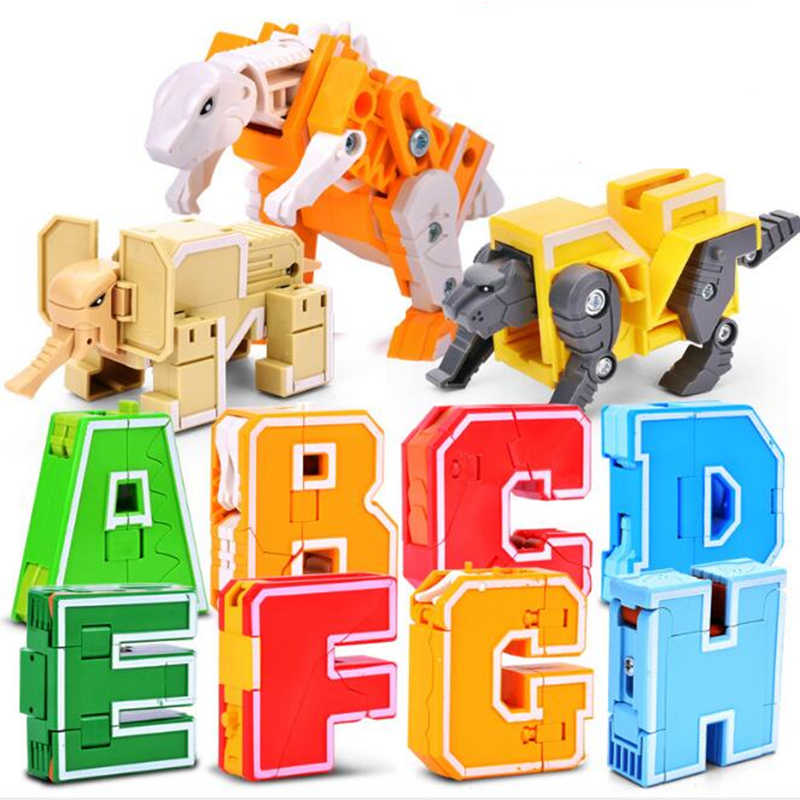 26 English Letter Transformation Alphabet Robot Animal Creative Educational Action Figures Number Robot Building Block Model toy