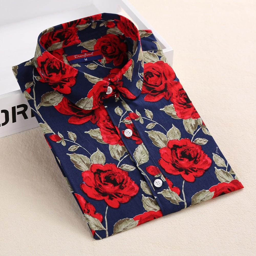HTB18qy KXXXXXcKXVXXq6xXFXXXs - Women Cherry Blouses Long Sleeve Shirt Turn Down Collar Floral Blouse