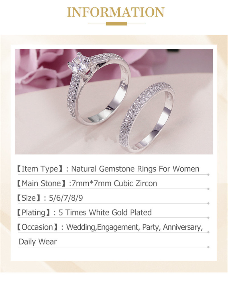 100% Real 925 Silver Rings For Women Simple Double Stackable Fine Jewelry Bridal Sets Ring Wedding Engagement Accessory