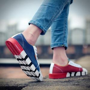 Image 5 - זאב מי אופנה גברים ג ינס בד נעלי זכר דירות נעליים יומיומיות אופנתי איש סניקרס תחרה עד נעלי תלמיד Zapatos Hombre X 059