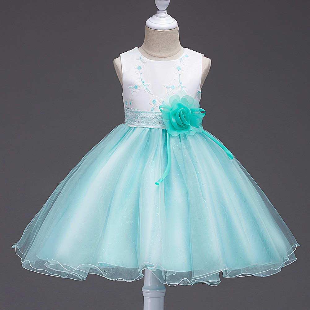 Girls Sleeveless Birthday Dress American Kids Fancy Princess Ball ...