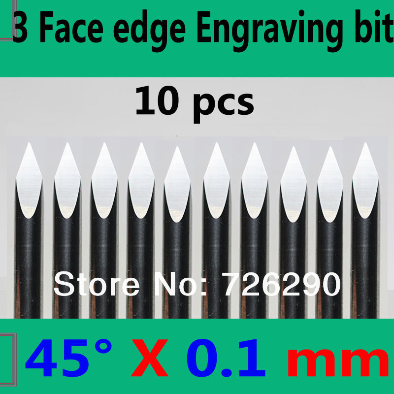 Free Shipping 10pcs 3.175mm Dia 45 Angle 0.1mm Tip 3 Edge Carbide Woodworking Tools Engraving Bits for CNC Router Machine