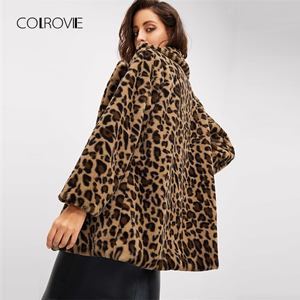 Image 2 - COLROVIE הדפס מנומר Streetwear חורף פו פרווה מעיל מעיל נשים בגדי 2018 סתיו אופנה משרד חם גבירותיי הלבשה עליונה