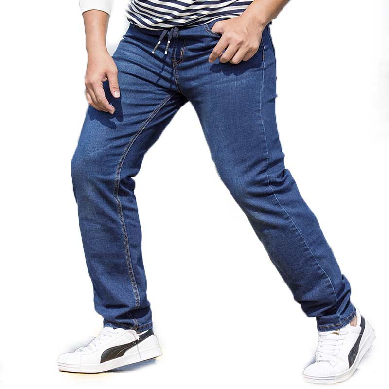 Regular Fit Plus Size Mens Straight Jeans Classic Blue Drawstring Waist Oversize Denim Trousers S-7XL(29-48) купить