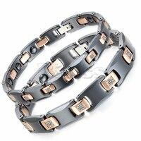 BONISKISS Men's Stainless Steel Ceramic Bracelet Bioenergy Bangle Magnetic Germanium Stone Health Jewelry Women Simple Jewelry