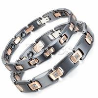 Stainless Steel Ceramic Bracelet Bioenergy Bangle Magnetic Germanium Stone Health Jewelry For Men Women Jewelry Black