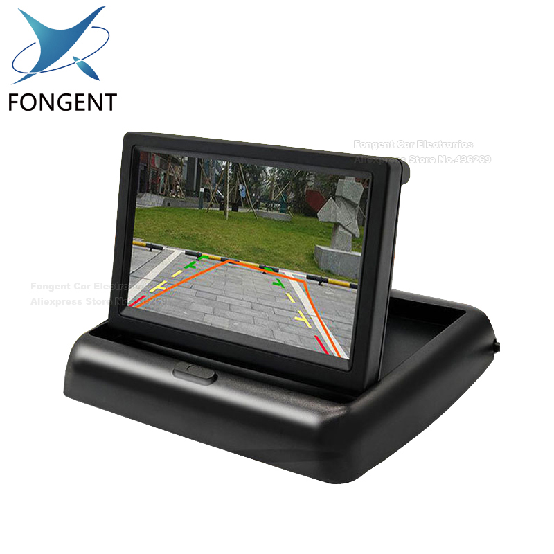 Fongent New Foldable Digital TFT LCD Screen Car Monitor For Car Rear View Reversing Camera Or DVD Support NTSC / PAL 4.3 /5 inch цена