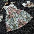 Vestido Del verano Del Bebé Vestido de Algodón Estampado floral de Estilo Europeo de La Vendimia Sin Mangas Vestido de Los Niños Embroma la Ropa Del Bebé