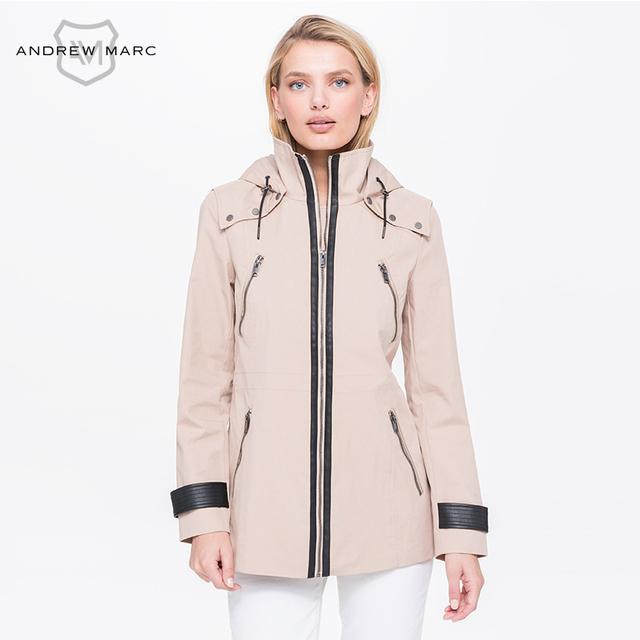 ANDREWMARC MNY Mulher Primavera 2017 de Médio Longo Trench Coat Moda Feminina Trincheira À Prova de Vento Ultraleve JacketTW7AC816