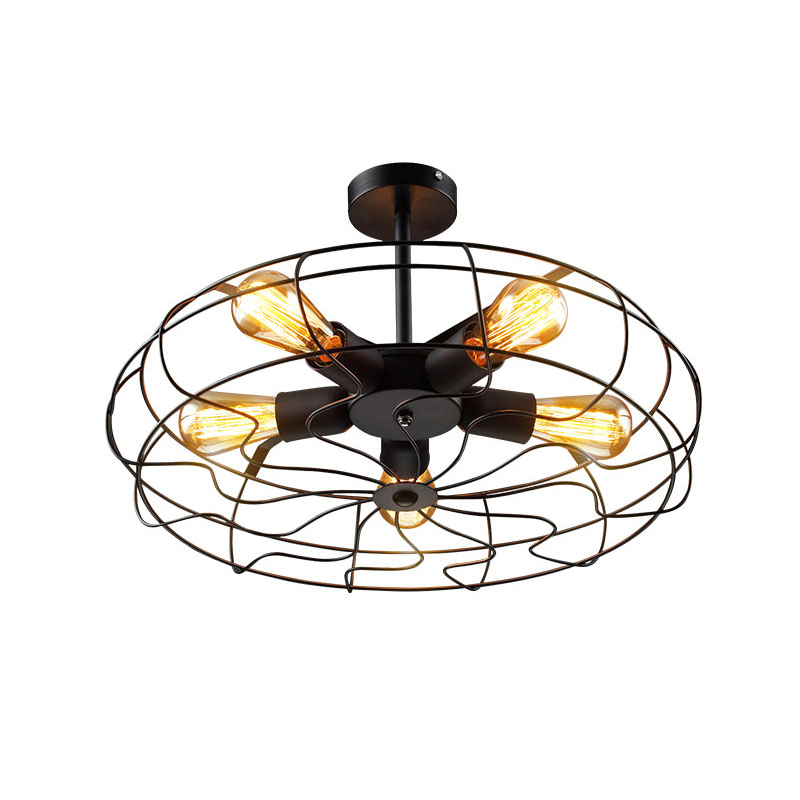 Vintage 5Heads E27 E26 Ceiling Lights  Black Iron Retro Industrial Fan Ceiling Lights American Country Kitchen Loft Ceiling Lamp for Bar Loft Decor  (8)