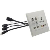 120 120 Universal Power Socket 3RCA Hdmi 3 5mm Audio USB RJ45 Wall Plate With Back