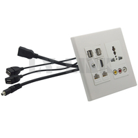 120 120 Universal Power Socket 3RCA Hdmi 3 5mm Audio USB RJ45 Wall Plate With Back