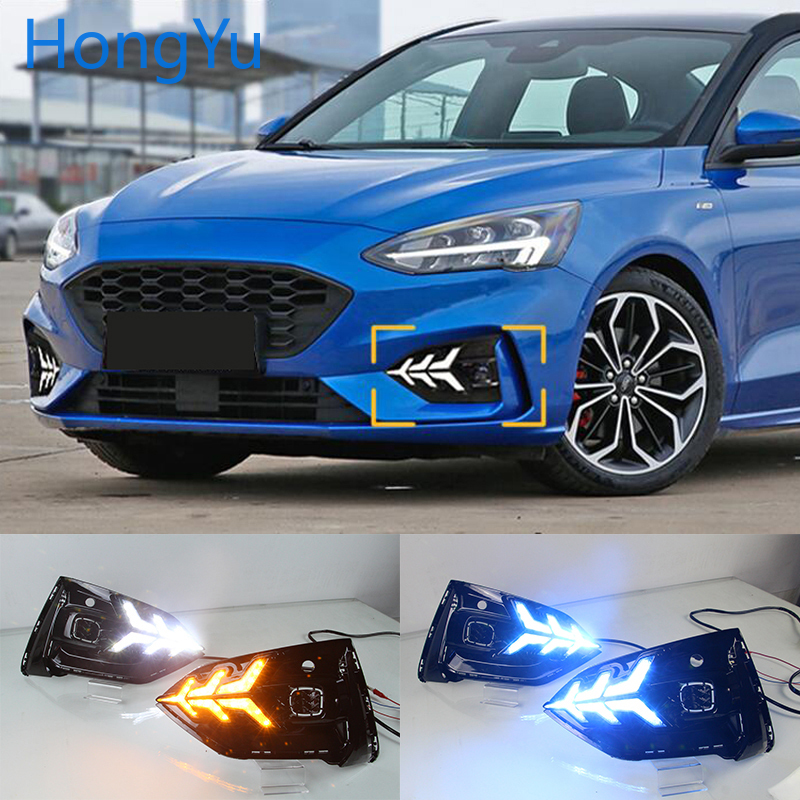 LED DRL for Ford Focus ST LINE 2018-2020 Daytime Running Lights Fog Lamp Cover with Yellow Turn Signal Functions Nightline Blue