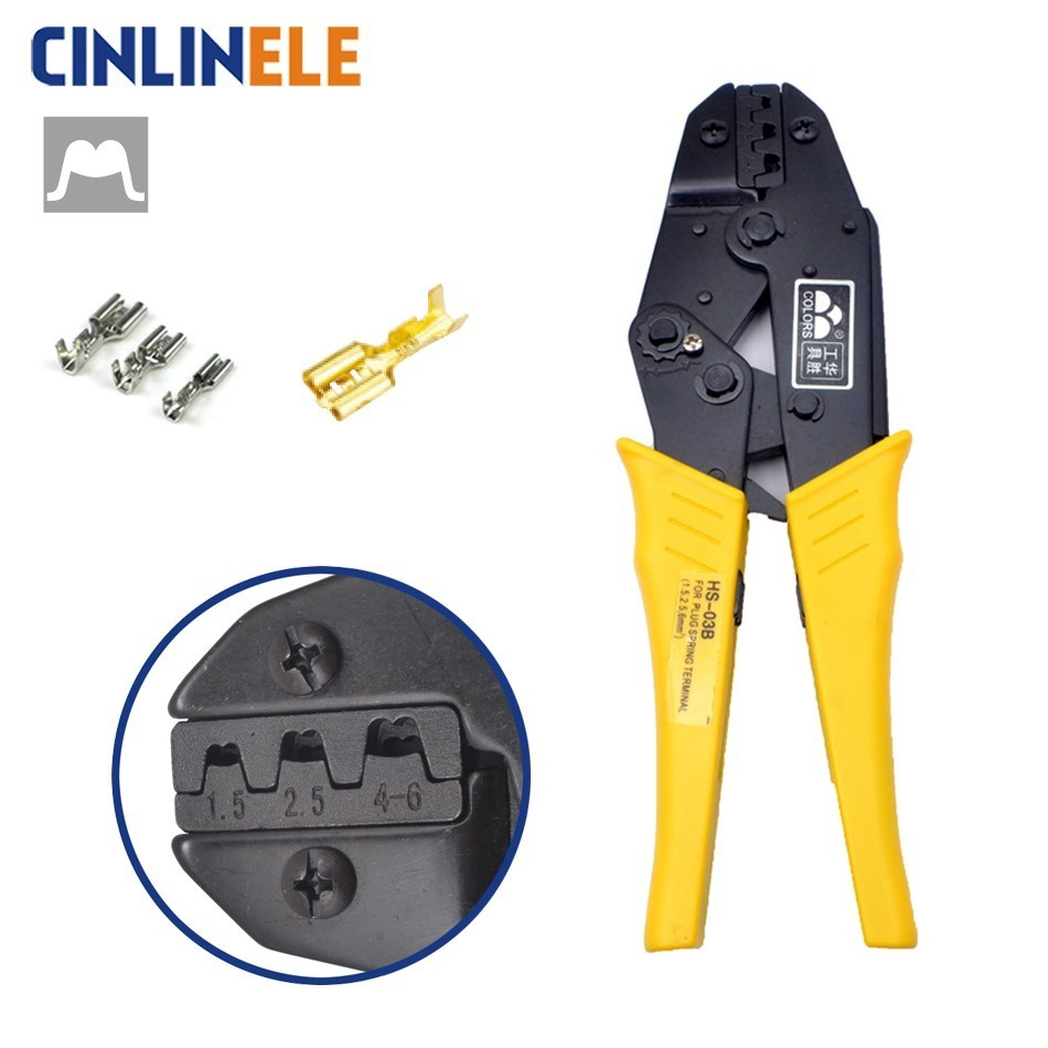 HS-03B 1.5-6.0mm 15-10AWG Crimp Pliers Multi Hand Tools Uninsulated Female Terminals Crimping alicate Replaceable Dies 9 Inch