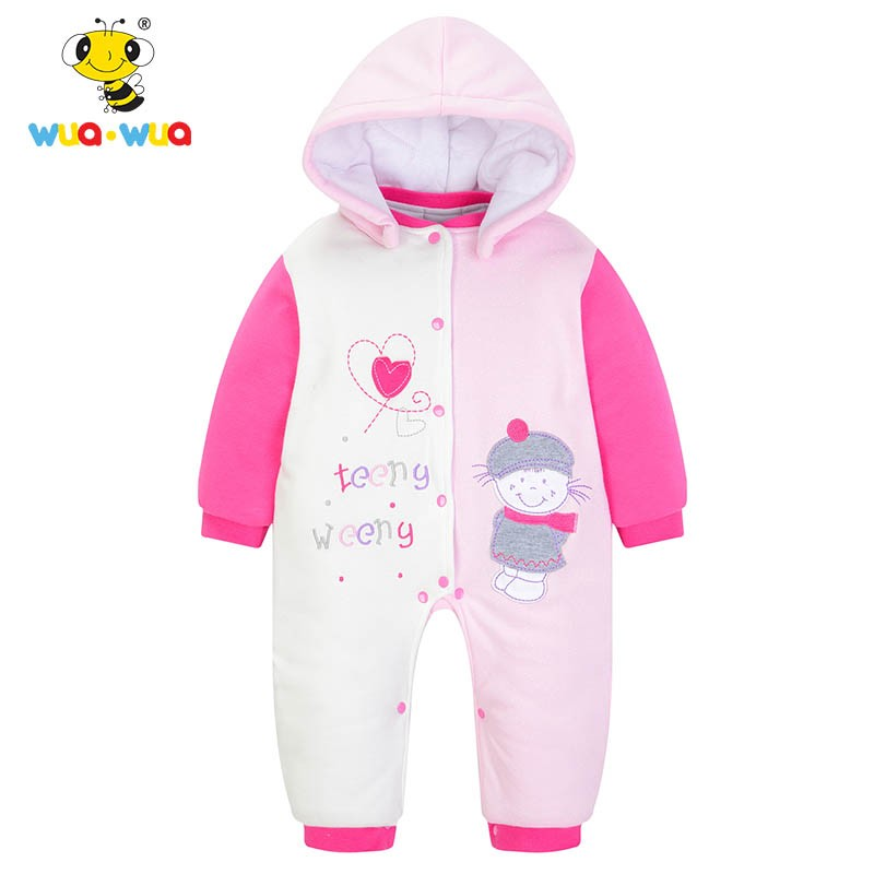 Winter intensificatio warm Cotton Baby Rompers Baby Clothes Cartoon embroidery Jumpsuit Baby Girl  Coat warm thicken baby rompers long sleeve organic cotton autumn