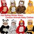 Inverno de Lã Grossa Quente Animal Dos Desenhos Animados Panda Roupas Bebê Recém-nascido Menino Menina Creepers Do Bebê Traje Indoor Infantil Macacão
